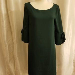 H&M Dark Green Shift Dress w/ Bow Details